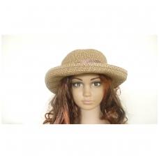 Madinga vasarinė skrybėle su rudos spalvos kaspinu