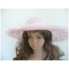 Šviesiai rožinė vasarinė skrybėlė su gėle