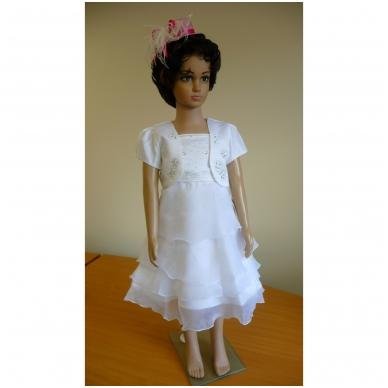 Balta šventinė suknelė su madingu švarkeliu