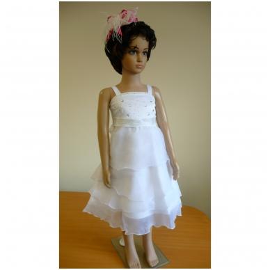 Balta šventinė suknelė su madingu švarkeliu 2