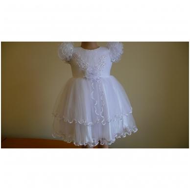 Prabangi balta šventinė suknelė