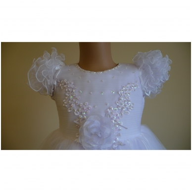 Prabangi balta šventinė suknelė 2