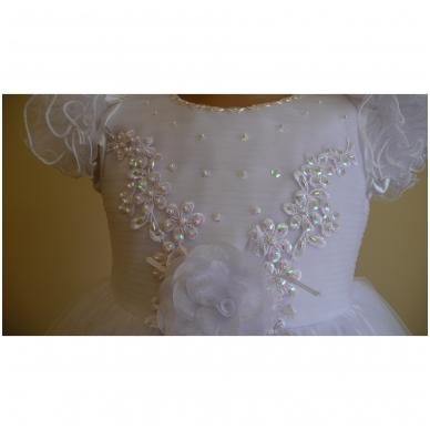 Prabangi balta šventinė suknelė 3