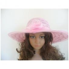 Rožinė vasarinė skrybėlė su gele