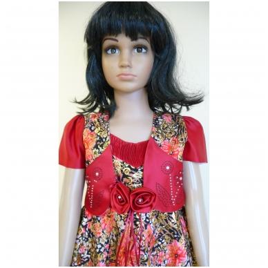 Suknelė raudona šventinė su švarkeliu 2