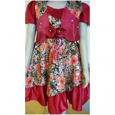 Suknelė raudona šventinė su švarkeliu 3