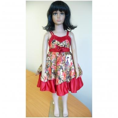 Suknelė raudona šventinė su švarkeliu 4