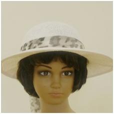 Vasarinė skrybėlė su leopardiniu kaspinu