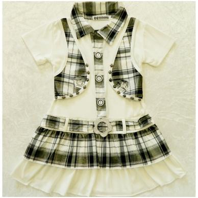 Vasarinė suknelė mergaitėms su liemenės imitacija 2