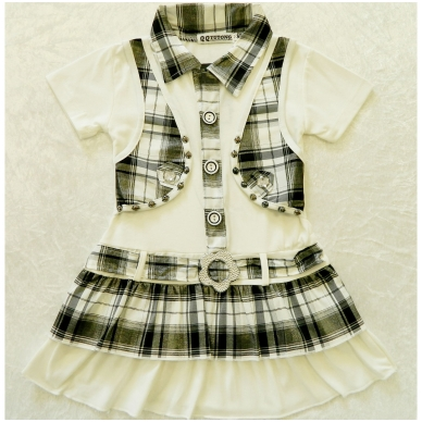 Vasarinė suknelė mergaitėms su liemenės imitacija